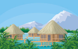 Bungalows in a bay Royalty Free Stock Images