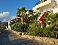 Bungalows complex- Stalis - Crete - Greece. Crete (also Candia, Κρήτη Greek, English Crete) is the largest Greek and overall the fifth largest island in the Royalty Free Stock Photo