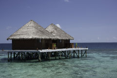 Bungalows in the lagoon, Maldives Royalty Free Stock Photos