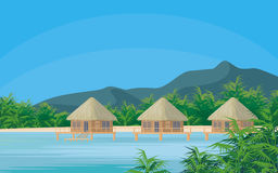 Bungalows in the lagoon Royalty Free Stock Photos