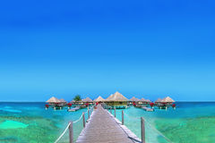 Bungalows at the Maldives Stock Photo