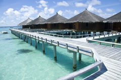 Bungalows in maldives Royalty Free Stock Photography
