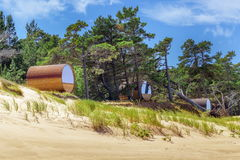 Bungalows near sea. In summer day royalty free stock image