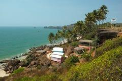 Bungalows no Cabo de Rama Beach, Goa Foto de Stock