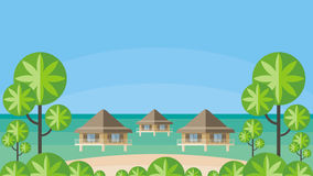 Bungalows and ocean Royalty Free Stock Photo