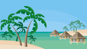 Bungalows and palm trees Stock Photography