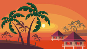 Bungalows and palm trees Royalty Free Stock Images