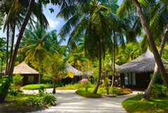 Bungalows and pathway, flowers and trees Stock Photography