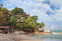 Bungalows and restaurant on tropical resort. Thailand Royalty Free Stock Photos