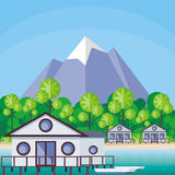 Bungalows by the sea Royalty Free Stock Photo