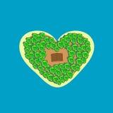Bungalows tropicais do coração da forma da ilha Fotografia de Stock Royalty Free