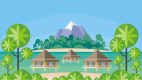 Bungalows and tropical island Royalty Free Stock Images