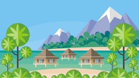 Bungalows and tropical island Stock Photo