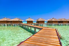 Bungalows on tropical Maldives island Royalty Free Stock Photography