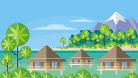 Bungalows in the tropics Royalty Free Stock Photography