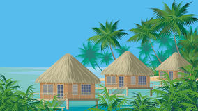 Bungalows on the water Stock Photos