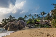 Bungalowwen in Coral Cove Beach, Koh Samui royalty-vrije stock afbeeldingen