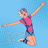 Bungee d'Art Excited Beautiful Woman Jumping de bruit Sports extrêmes Fille heureuse Ropejumping illustration stock