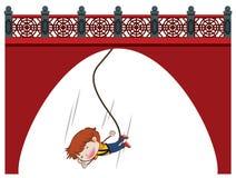 Bungee die bij Chinese Muur springen vector illustratie