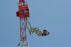 Bungee Jump. Man Bungee Jumping from a tower Stock Images
