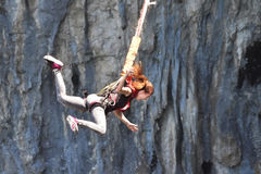 Bungee jump in a cave. Bungee jump as extreme and fun sport Stock Photo