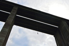 Bungee jump from a 390-feet high viaduct Royalty Free Stock Image