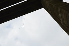 Bungee jump from a 390-feet high viaduct Stock Images