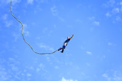 Bungee Jumping. DRESDEN - AUGUST 22: A bungee jumper at the City festival - August 22, 2010 in Dresden, Germany Stock Photography