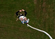 Bungee-jumping. Freefall seen from above Royalty Free Stock Images