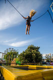 Bungee jumping in the attraction park Stock Photos