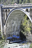 Bungee jumping on a bridge Royalty Free Stock Image