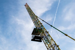 Bungee jumping cabin and cran.People in flight from a height.  Royalty Free Stock Photos
