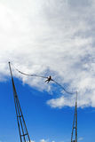 Bungee jumping. Girl having a good time bungee jumping Royalty Free Stock Image