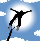 Bungee jumping silhouette. And sky in the background Royalty Free Stock Photo
