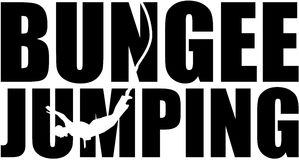 Bungee jumping word with silhouette cutout Royalty Free Stock Photo