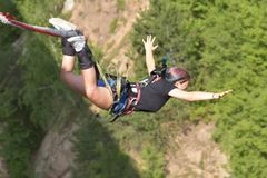 Bungee jumps, extreme and fun sport. Bungee From a high bridge stock images
