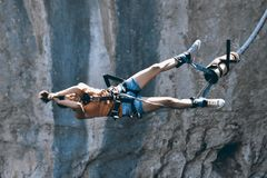 Bungee jumps, extreme and fun sport. Stock Photos