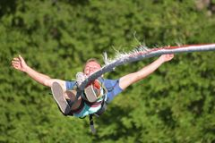 Bungee jumps, extreme and fun sport. Stock Images