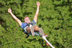 Bungee jumps, extreme and fun sport. Bungee From a high bridge Stock Image