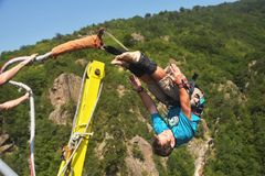 Bungee jumps, extreme and fun sport. Stock Image