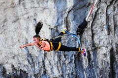 Bungee jumps, extreme and fun sport. Stock Photo