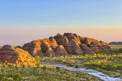 Bungle Bungles National Park just before sunset. The famous Beehives of the Bungle Bungles National Park enjoy the warm sunlight of the setting sun Stock Photo