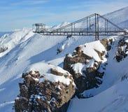 Bungy hoppar plattformen på monteringen Hutt Ski Field NZ Royaltyfria Bilder
