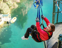 Free Bungy Jumping Off Bridge In Extreme Swing On Lake Stock Photos - 26943223