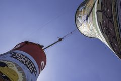 Bunjee Soweto. Decomissioned cooling towers in Soweto now offer adrenaline junkies a place to bunjee jump stock images