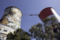 Bunjee Soweto. Decomissioned cooling towers in Soweto now offer adrenaline junkies a place to bunjee jump stock photos