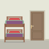 Bunk Bed With A Closed Door Stock Images