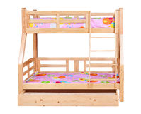 Bunk bed isolated over white with path Stock Photos