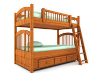 Bunk bed isolated on white background Royalty Free Stock Photos