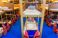 Bunk beds on ferry boat to Koh Tao Island, Thailand Royalty Free Stock Image
